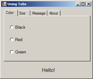 Using TabControl to display various font settings