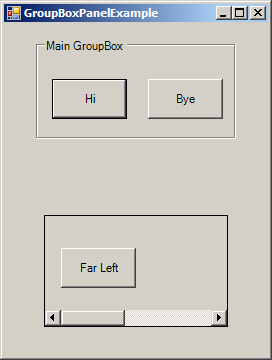 Using GroupBoxes and Panels to hold buttons