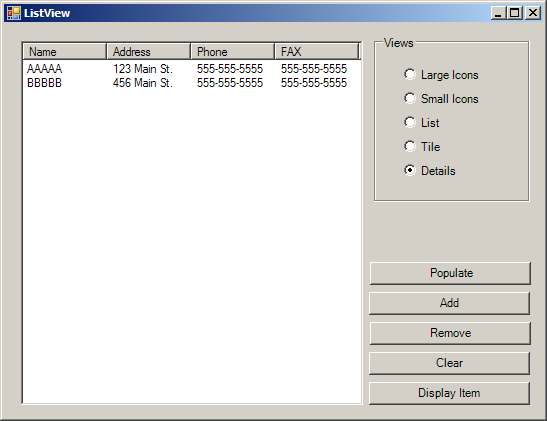 Add columns and rows to a ListView : ListView « GUI « VB Net Tutorial