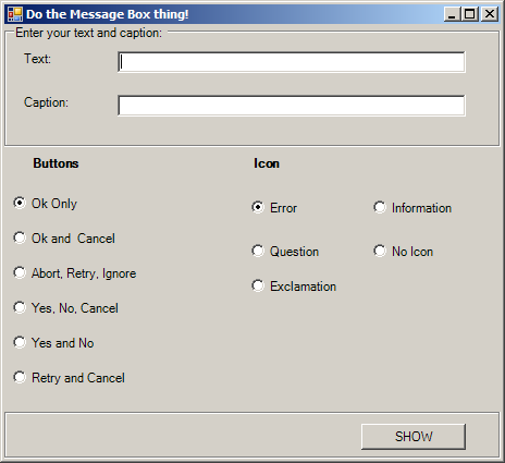 Create MessageBox dynamically