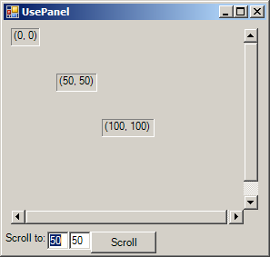 Panel auto scroll position