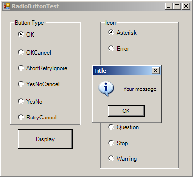 Using RadioButtons to set message window options.