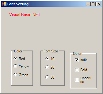 Use RadioButton to set font