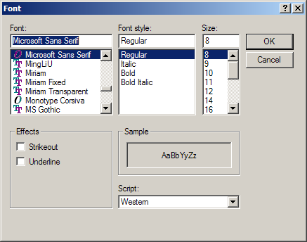 Use Font dialog to set Label font