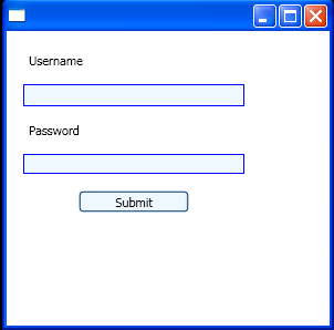 A simple user-login XAML page