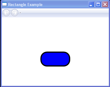Draws a 100 by 50 rectangle with a solid blue fill, a black outline, and rounded corners