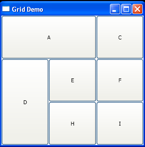 Grid with row and column definition and place buttons to grid cells