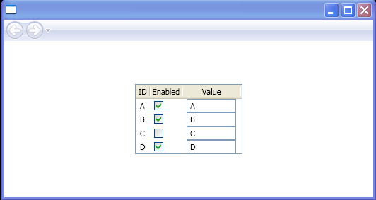 ListView control with controls for columns
