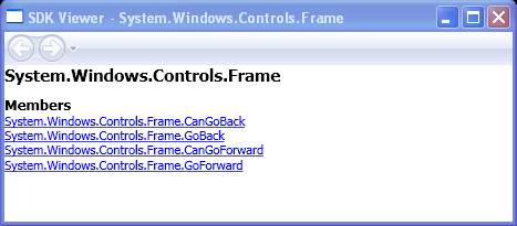 System.Windows.Controls.Frame.CanGoBack, GoBack, CanGoForward, GoForward