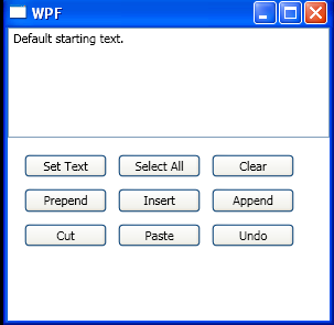TextBox: set text, select all, clear, prepend, insert, append, cut, paste, undo