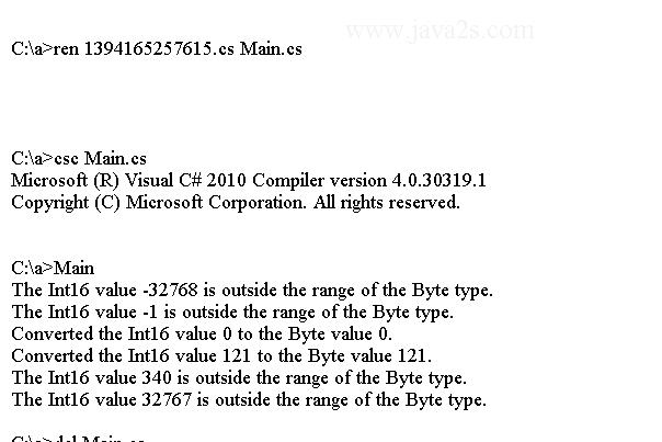 C# Tutorial - C# Convert ToByte(Int16)