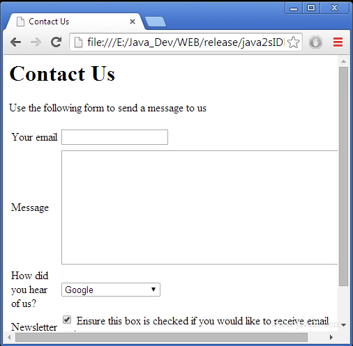 a contact form in HTML and CSS