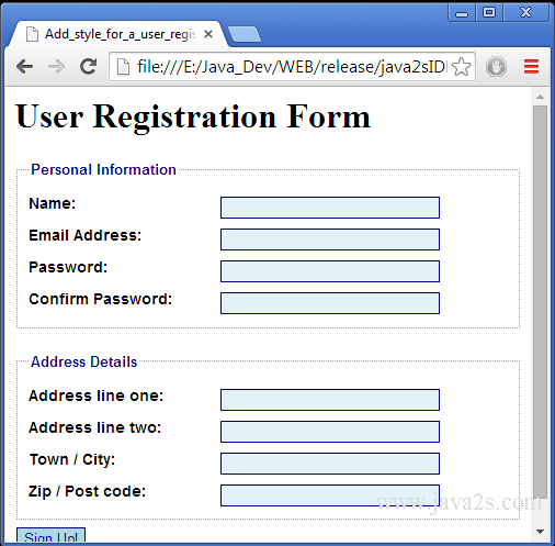 style for a user registration form in HTML and CSS