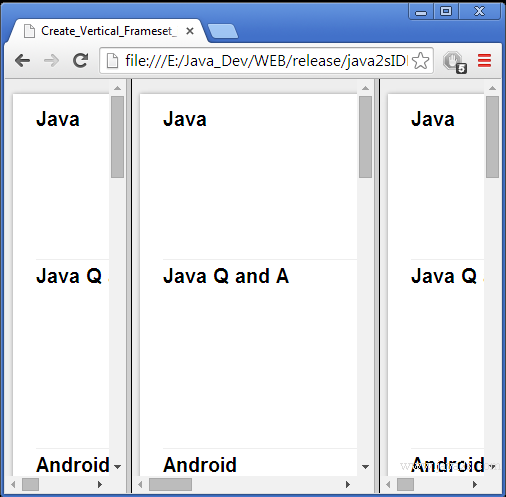Create Vertical Frameset in HTML and CSS