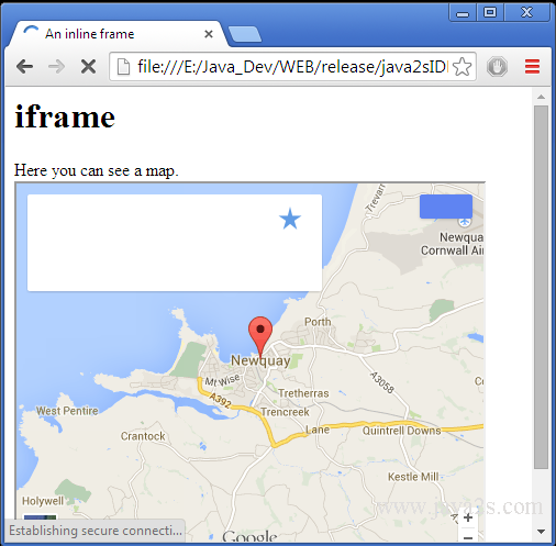 Create an inline frame with iframe in HTML and CSS