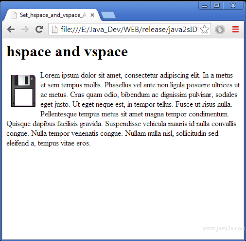Hspace html
