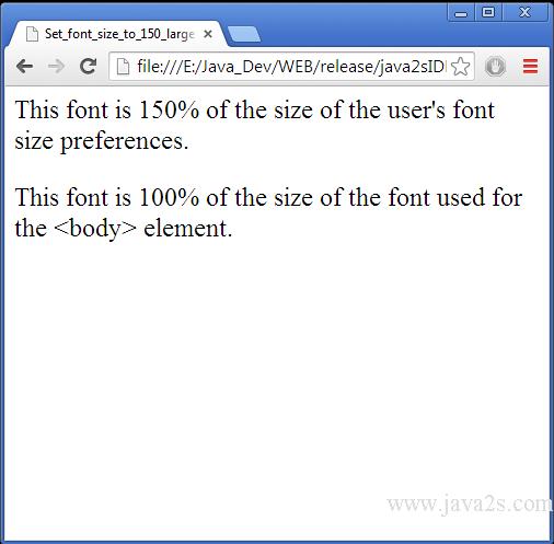 Размер шрифт в html