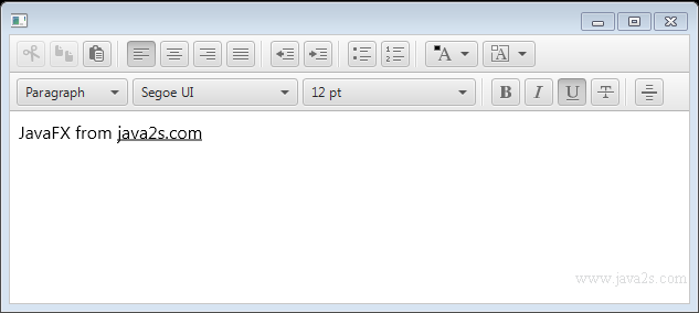 JavaFX Tutorial - JavaFX HTMLEditor