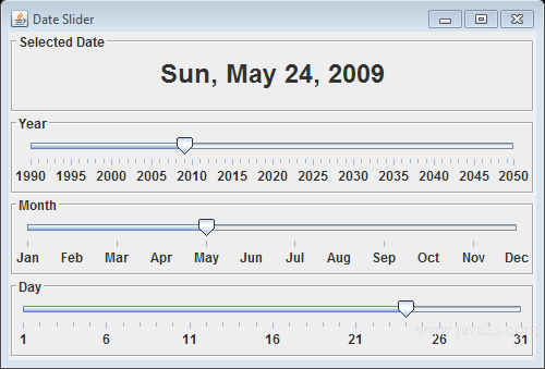 Java Tutorial - Create a Date Slider control with JSlider in