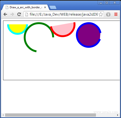 Draw a arc with border and fill on HTML5 Canvas in JavaScript