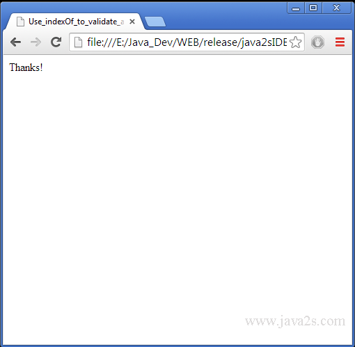Validating email address using javascript in java