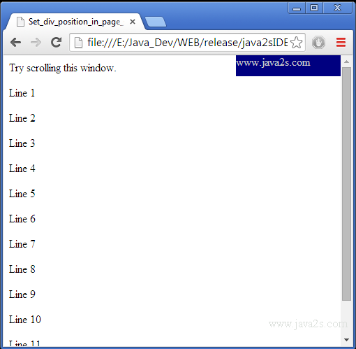 Javascript set scroll position