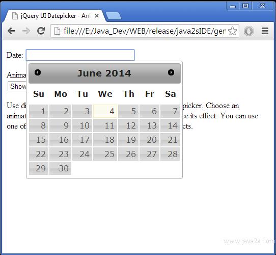 Build jQuery UI Datepicker - Animations in JavaScript