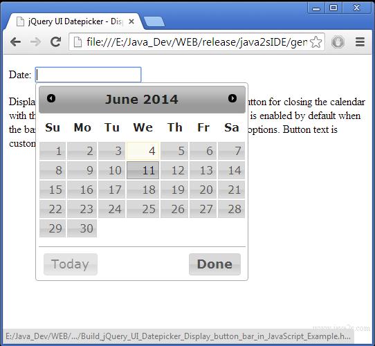 Build jQuery UI Datepicker - Display button bar in JavaScript