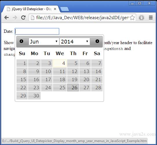 Build jQuery UI Datepicker - Display month & year menus in