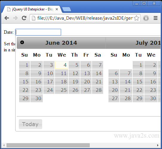 Build jQuery UI Datepicker - Display multiple months in JavaScript
