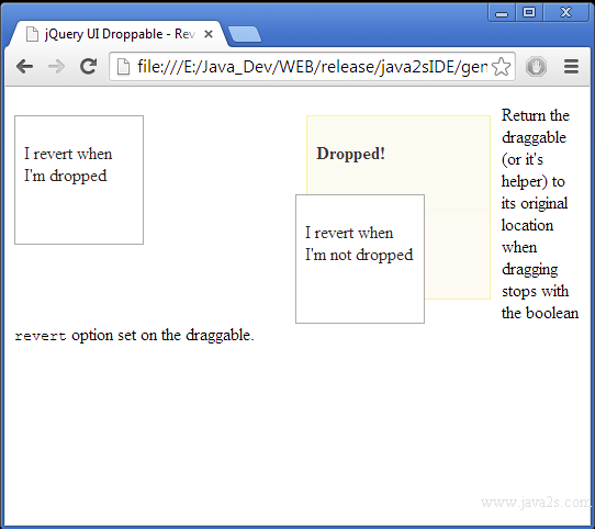 Build jQuery UI Droppable - Revert draggable position in