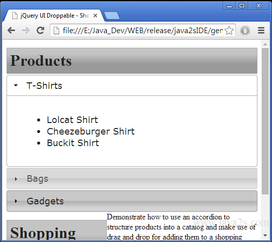 Build jQuery UI Droppable - Shopping Cart Demo in JavaScript