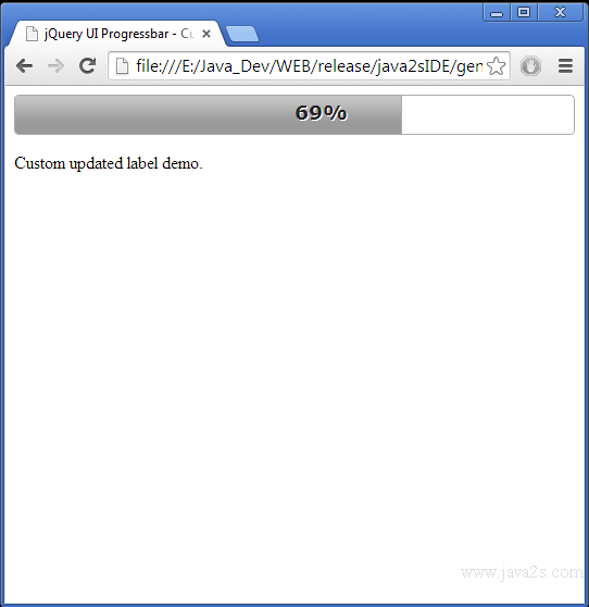 Build jQuery UI Progressbar - Custom Label in JavaScript