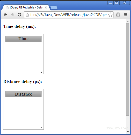 Build jQuery UI Resizable - Delay start in JavaScript