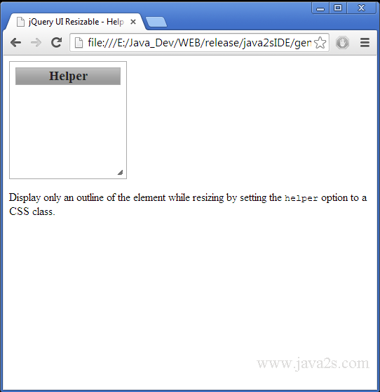 Build jQuery UI Resizable - Helper in JavaScript