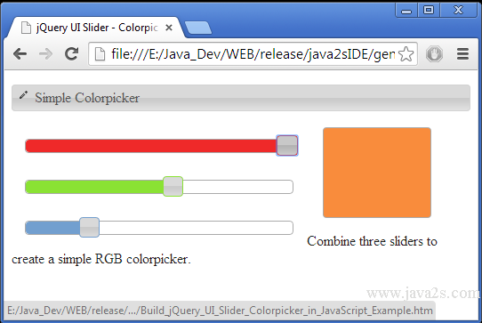 Build jQuery UI Slider - Colorpicker in JavaScript